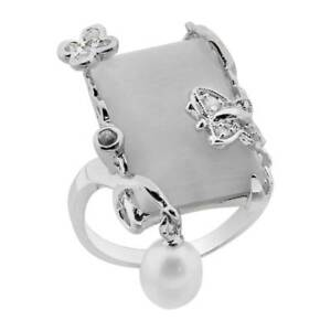Women's Wedding Band Cats Eye Pearl Dangle White Gold Plated Engagement Ring