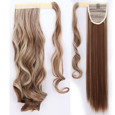 Real Clip in Hair Extension As Human Pony Tail Wrap Around Ponytail Barbie Brown