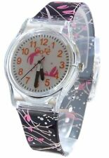 Core Girls Designer White Dial Analog With Black Pink Floral Strap All Plastic