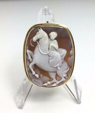 Vintage 14k Yellow Gold Cameo Brooch Pendant Horse and Side Saddle Rider