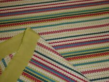 HARLEQUIN - CROCHET STRIPE - Raspberry/Lime/Turquoise - Embroidered Fabric