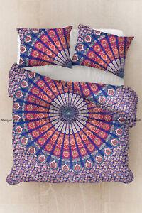 Mandala duvet doona cover cotton indien peacock bohemian bedding quilt cover set