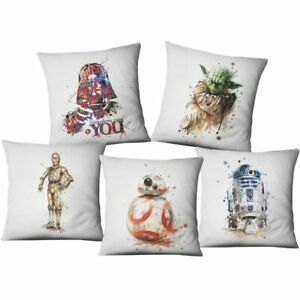 Purple Color Star Wars Cushion Cover Hand Painting Yoda Darth Vader Splatter Art