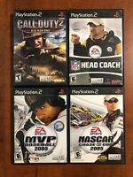 Lot (4) Mix Game Bundle Sony Playstation 2 PS2 Call Of Duty 2 NASCAR Head Coach