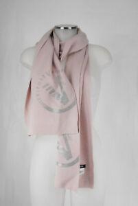 Versace Sport Strickschal rosa mit silbrigem Logoprint 50% Wolle scarf wie neu