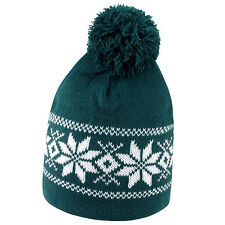 Fair Isle Pattern Bobble Hat Beanie Wooly Winter Mens Ladies Knitted Ski Pom Pom