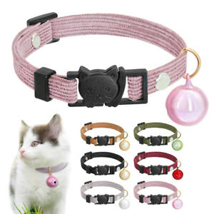 Cat Collar with Bell Nylon Kitten Collar with Breakaway Safety Clip 7-11.5''