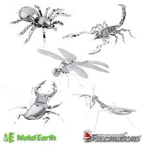 Metal Earth Insect DIY 3D Metal Model Dragonfly Tarantula Praying Mantis New UK