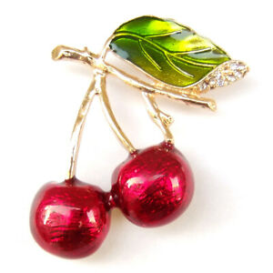 Brooch Red Cherry Fruit Green Leaves Gold Branch Crystal Sparkle Pin Gift Box
