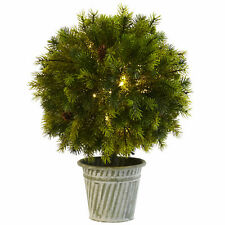 """18"""" Pine Ball In Iron Top Artificial Winter Wonderland Nearly Natural Display"""