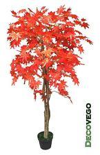 Acero Pianta Albero Artificiale 150cm con Legno Naturale Foglie Rosse Decovego