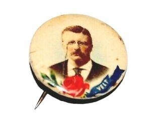 1904 TEDDY ROOSEVELT ROSE VELT REBUS theodore campaign pinback button political