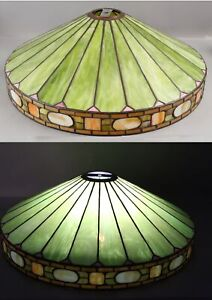 Antique Duffner & Kimberly NY Leaded Glass Arts & Crafts Slag Glass Lamp Shade