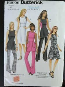 Ladies Butterick Dress, top and trousers sewing pattern. B6066 Uncut. size 6-14