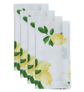 New Kate Spade New York Set of 4 Lemon Napkins Make Lemonade Yellow Cream