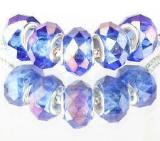 blue AB 5pcs MURANO Crystal bead LAMPWORK fit European Charm Bracelet B#522