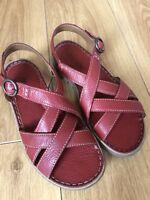 BRAND NEW JOSEF SEIBEL LUCIA ladies leather comfort sandals in red, UK 5/38