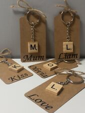 WOODEN SCRABBLE KEY RING LETTER & NAME,VALENTINE, friend, gift, mother