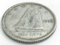 1938 Canada 10 Ten Cent Silver Dime Canadian Circulated George VI Coin J278