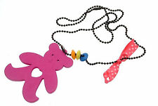 Kids Jewellery black ball chain necklace with large wooden teddy pendant Pink
