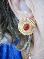 Authentic Vintage Gold Tone Burn't Sienna Cabochon Pierced Earrings