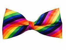 NEW Rainbow Bow Tie Satin with Adjustable Strap Men's Unisex Mardi Gras Clown