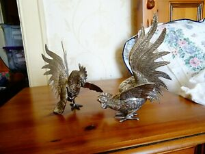 """Pair of silver plated fighting cockerals 7"""" high (17.8 cm)"""