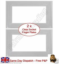 2 x Clear Finger Plates 2 Gang Double Light Switch Socket Surround Panel Cover