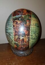 Painted Ostrich Egg With Wood Stand World Atlas African Safari Animals
