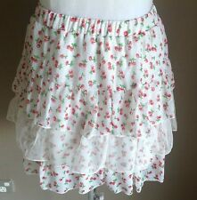 NEW with Tags White Tier Skirt with Cherry Print Size 12