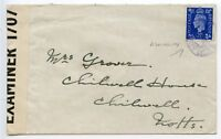 GREAT BRITAIN c1940 Censored cover to Notts GVI 2½d cancelled ADMIRALTY WHITHALL
