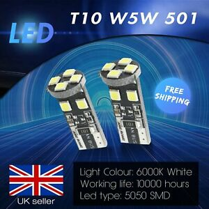 2x T10 501 W5W 8 SMD LED Sidelight Indicator Number Plate Light Bulbs Error Free