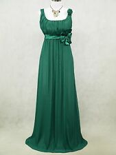 Cherlone Clearance Chiffon Dark Green Long Ball Gown Wedding/Evening Dress 8-10