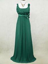 Cherlone Clearance Chiffon Dark Green Long Ball Gown Wedding/Evening Dress 14-16