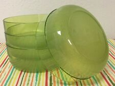 Tupperware Acrylic Cereal Bowls Sheer Green Set Of Four 2 Cups New