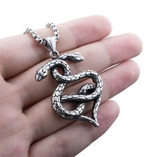 Vintage Silver Snake Heart Shape Solid Stainless Steel Pendant Necklace Chain