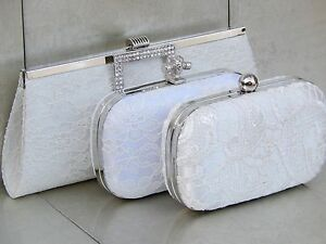 Ivory Classic Lace Bridal Wedding Prom Purse Clutch Handbag Bag 110 UK