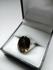Gorgeous Sterling Silver and Smokey Quartz Ring. Size Q. New in Box