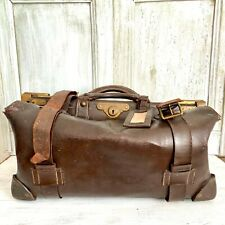 Antik Leder Reisetasche Lederkoffer Koffertasche Oldtimer um 1900 Gladstone Bag
