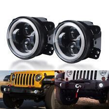 2X 4inch Round LED Fog Lights Hi-Lo Beam White Halo Lamp For Jeep Wrangler JK TJ