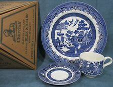 Blue Willow Dinnerware 3-Pcs Place Setting Dinner Plate Cup Saucer England NEW