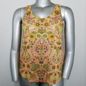 H&M Top Medium Womens Peach Yellow Green Floral Sleeveless Long Scoop Tank