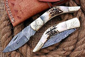 HUNTEX Custom Handmade Damascus Steel 100mm Long Hunting DeerAntler Pocket Knife