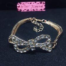 💋 Betsey Johnson Rhinestone Butterfly Knot Bow Slinky Bracelet 🇺🇸 US SELLER