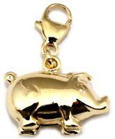 Anhänger Charm Einhänger Schwein in Gold 333 Gelbgold Karabiner Qualität 8 Karat