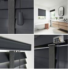Dark Grey Faux Wood Venetian Blinds 50mm Slats Window Blind Fittinngs Included