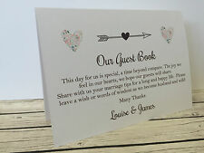 Rustic/Vintage 'tent fold' Wedding Guest book sign