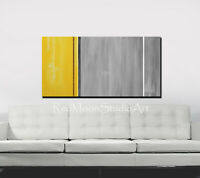 48x24 Abstract Art - Painting Yellow, Brown, White and Gray - US Artist