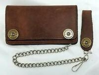 """Brown Leather Trucker Wallet 6"""" x 3.5"""" Shotgun Shell Snaps 12"""" Chain MADE IN USA"""
