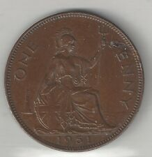 GREAT BRITAIN, 1951,  PENNY, BRONZE,  KM#869,  CHOICE EXTRA FINE  *LOW MINTAGE*
